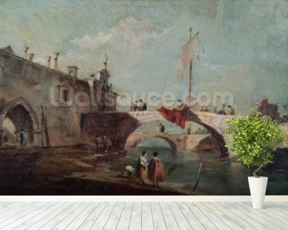 Landscape with a Canal (oil on canvas) wall mural room setting