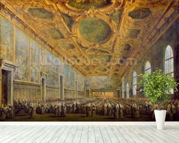 The Doge of Venice Thanking the Council, after 1775 (oil on canvas) wallpaper mural room setting