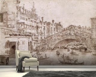The Rialto Bridge, Venice (pen & brown ink on paper) wall mural