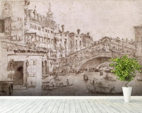 The Rialto Bridge, Venice (pen & brown ink on paper) wall mural room setting