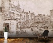 The Rialto Bridge, Venice (pen & brown ink on paper) wall mural kitchen preview