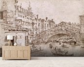 The Rialto Bridge, Venice (pen & brown ink on paper) wall mural living room preview