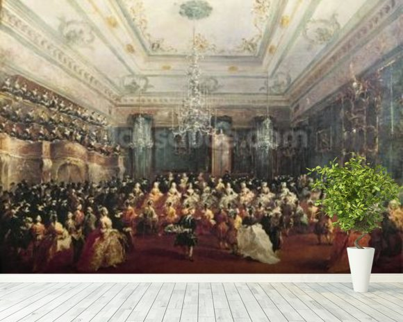 Gala Concert given in January 1782 in Venice for the Tsarevich Paul of Russia and his wife, Maria Feodorovna (oil on canvas) wallpaper mural room setting