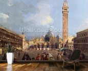 Piazza San Marco, Venice, c.1760 (oil on canvas) (detail) mural wallpaper kitchen preview