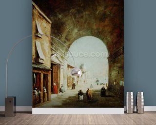 View of a Venetian street (oil on canvas) wall mural