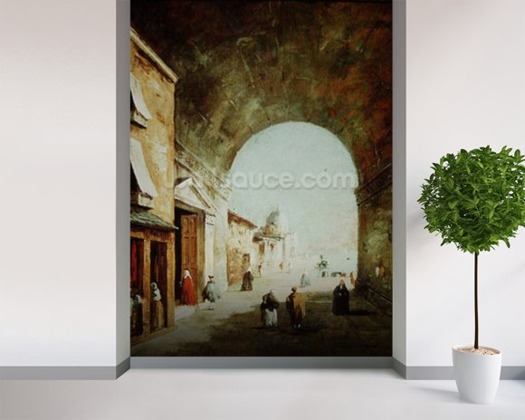 View of a Venetian street (oil on canvas) wall mural room setting