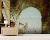 View of a Venetian street (oil on canvas) wall mural living room preview