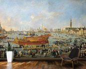 Departure of the Bucentaur for the Lido on Ascension Day, 1766-70 (oil on canvas) mural wallpaper kitchen preview