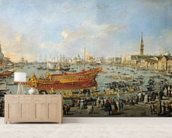 Departure of the Bucentaur for the Lido on Ascension Day, 1766-70 (oil on canvas) mural wallpaper living room preview