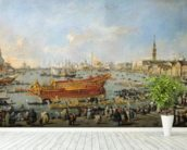 Departure of the Bucentaur for the Lido on Ascension Day, 1766-70 (oil on canvas) mural wallpaper in-room view