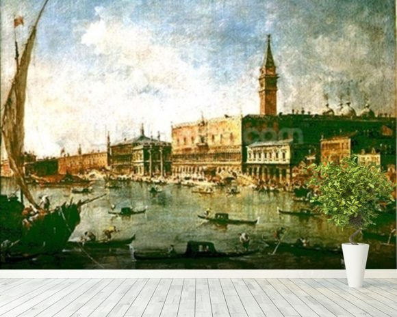 The Doges Palace and the Molo from the Basin of San Marco, Venice, c.1770 (oil on canvas) wall mural room setting