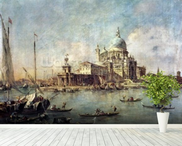 Venice, The Punta della Dogana with Santa Maria della Salute, c.1770 (oil on canvas) wallpaper mural room setting