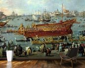 The Departure of the Bucentaur Towards the Venice Lido on Ascension Day, detail of the boat, 1766-70 (oil on canvas) wall mural kitchen preview