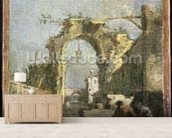 A Capriccio - Ruins, 18th century mural wallpaper living room preview
