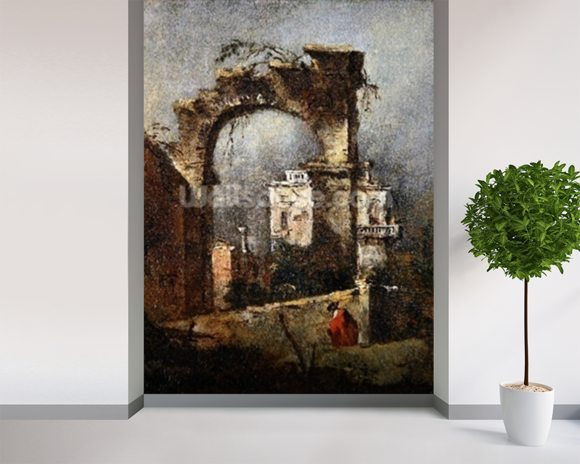 A Capriccio - A Ruined Arch, 18th cenury wall mural room setting