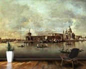 Santa Maria della Salute seen from the mouth of the Grand Canal, Venice (oil on panel) wallpaper mural kitchen preview