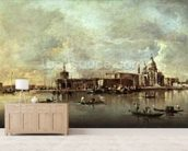 Santa Maria della Salute seen from the mouth of the Grand Canal, Venice (oil on panel) wallpaper mural living room preview