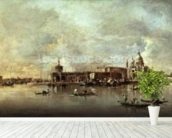 Santa Maria della Salute seen from the mouth of the Grand Canal, Venice (oil on panel) wallpaper mural in-room view