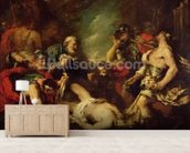 Alexander the Great before the Corpse of Darius III, 330 BC, 18th century (oil on canvas) mural wallpaper living room preview