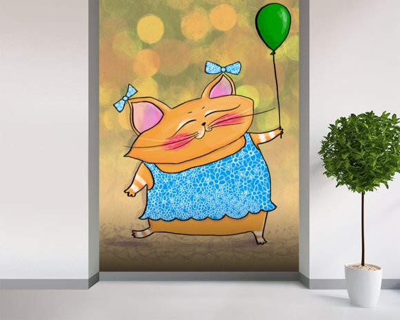 Cat Dress mural wallpaper room setting