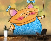 Cat Dress mural wallpaper kitchen preview