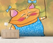 Cat Dress mural wallpaper living room preview