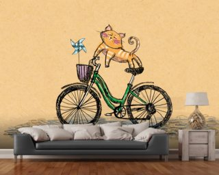 Cat Cycle wall mural