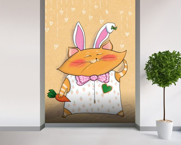 Cat Bunny mural wallpaper room setting