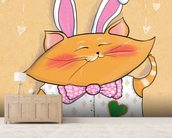 Cat Bunny mural wallpaper living room preview