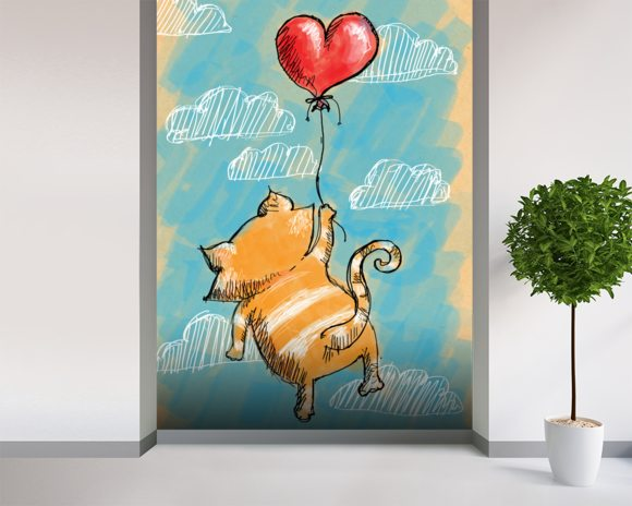Cat and Balloon mural wallpaper room setting