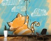 Cat and Balloon mural wallpaper kitchen preview