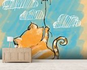 Cat and Balloon mural wallpaper living room preview