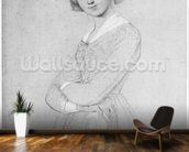 Louise de Broglie, Countess of Haussonville, 1842 (graphite & white highlights on paper) (b/w photo) wallpaper mural kitchen preview
