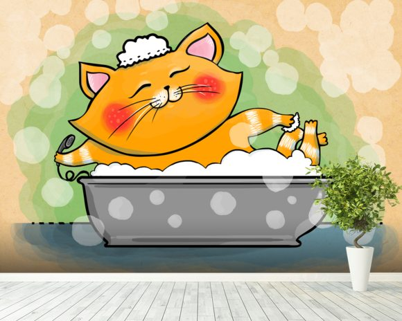 Cat in the Bath mural wallpaper room setting