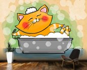 Cat in the Bath mural wallpaper kitchen preview