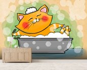 Cat in the Bath mural wallpaper living room preview