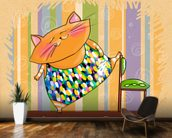 Cat Gymnast mural wallpaper kitchen preview