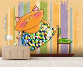 Cat Gymnast mural wallpaper living room preview