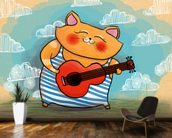 Cat and Guitar wallpaper mural kitchen preview