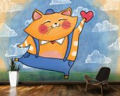 Cat and Heart mural wallpaper kitchen preview