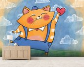 Cat and Heart mural wallpaper living room preview