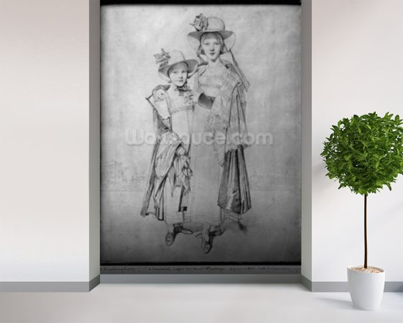 The Montagu Sisters in Rome, 1815 (graphite on paper) (b/w photo) mural wallpaper room setting