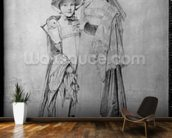 The Montagu Sisters in Rome, 1815 (graphite on paper) (b/w photo) mural wallpaper kitchen preview
