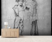 The Montagu Sisters in Rome, 1815 (graphite on paper) (b/w photo) mural wallpaper living room preview