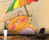 Cat and Rain wall mural kitchen preview