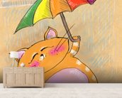 Cat and Rain wall mural living room preview