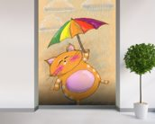 Cat and Rain wall mural in-room view