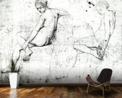 Study for the Turkish Bath (graphite on paper) (b/w photo) wallpaper mural kitchen preview