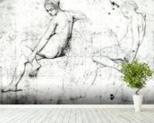 Study for the Turkish Bath (graphite on paper) (b/w photo) wallpaper mural in-room view