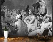 The Turkish Bath, 7th October 1859 (oil on canvas) (b/w photo) mural wallpaper kitchen preview